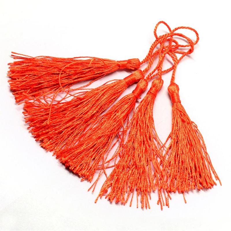 Satijn kwast lengte kwast 9 cm incl. lus 130 x 6mm  orange red