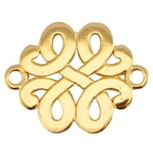 DQ metaal tussenstuk barok goud  ca. 17x13mm