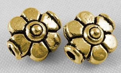 25 stuks metalen kralen goudkleur 9 x 8 x 5mm gat: 1,5mm