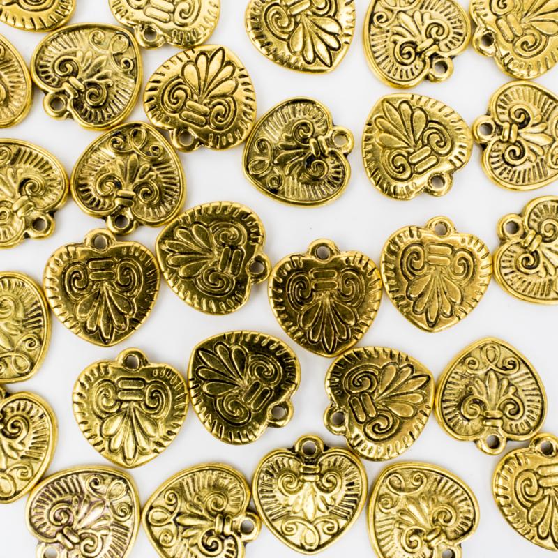 10x gouden bedels hartje 15 mm x 15,7 mm
