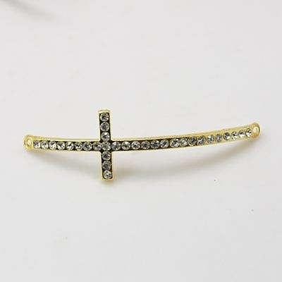 Schitterende Kruis tussenzetsel met strass 53x15x3mm goud