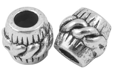 5 x  Tibetaans zilveren European Jewelry bedel  11 x 10mm gat: 5mm