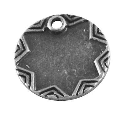 4 x  Tibetaans zilveren naam plaatje 14 x 2mm Gat: 2mm