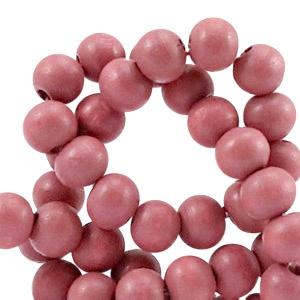 20 keer Houten Kralen Rond 6 mm Marsala pink