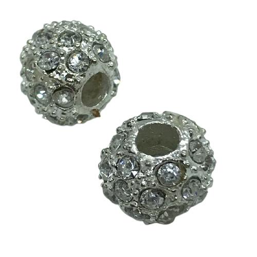 Schitterende European Jewelry bedel kraal van metaal met strass  11x13mm gat: 4,5mm