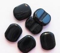 10 Stuks Glaskraal plat ovaal zwart verdeler 2 gaats 14 mm