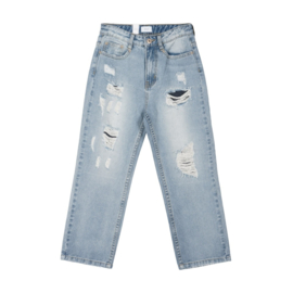 GRUNT / Mom Straight Croped Damage jeans