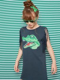 YPORQUE /  Crocodile fringed dress