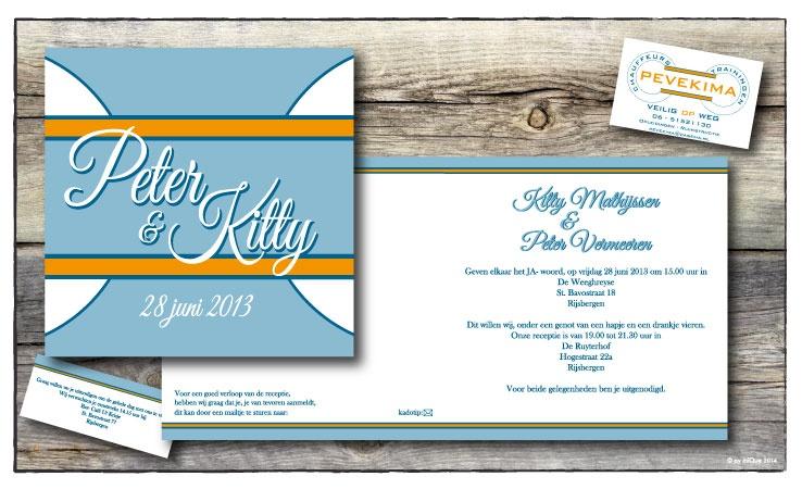 Peter & Kitty huwelijksuitnodiging