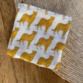 Hydrofieldoek luipaard - okergeel offwhite - 53 x 53 - Popjes & Zo