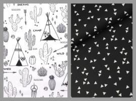 Dekbedovertrek tipi's en driehoekjes zwart wit