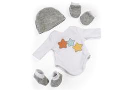 Miniland baby kleertjes setje grijs wit