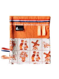 labeldoekje knuffeldoekje delfts blauw oranje Holland print