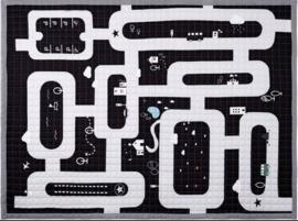 speelkleed vloerkleed XL antislip verkeer zwart wit grijs
