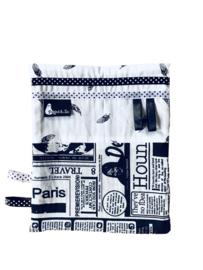 labeldoekje knuffeldoekje zwart wit newspaper en veertjes