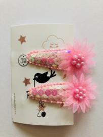 haarknipjes roze pailletten roze tule bloem