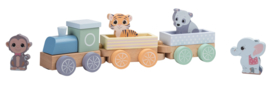 Jouéco houten speelgoed trein The wildies family