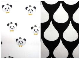 Dekbedovertrek panda druppels zwart wit