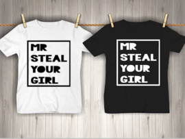 t-shirt mr. steal your girl maat 74 / 80 zwart