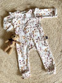 Siemz onesie Fleur met ruffle mouwtjes maat 56 en 62