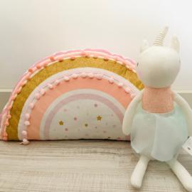 Kinderkussen Regenboog Roze Goud Wit pompoms