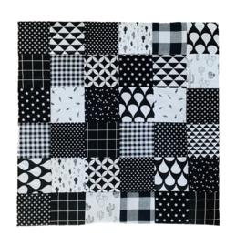 Speelkleed / boxkleed 90 x 90 cm zwart wit quilt stijl