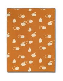 Micu Micu baby wiegdeken appel peer - oranje ecru - dubbelzijdig 75 x 105 cm