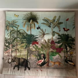 XL speelkleed 125 x 135 cm jungle botanical print en velvet okergoud