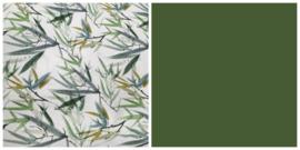 NEW! Dekbedovertrek bamboe digitale print mosgroen