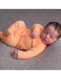 Gebreid newborn setje zalm koraal maat 56/62 - Micu Micu Barcelona