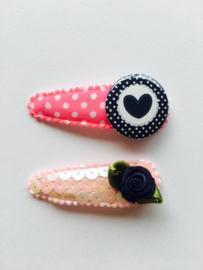 haarknipjes roze dotjes en pailletten