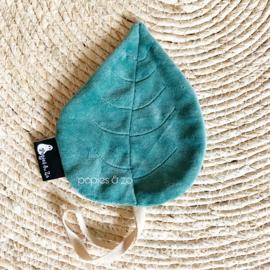 Speendoekje velvet leaf blad saffier (donker petrol) groenblauw