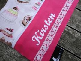 """Luier etui """"sweet pink"""" met naam"""