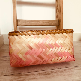 opbergmand 30 x 23 x 15 cm bamboe roze/bruin