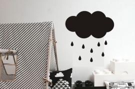 muursticker wolk SMALL  zwart met druppels