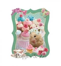 Full color strijkapplicatie cupcake hamster
