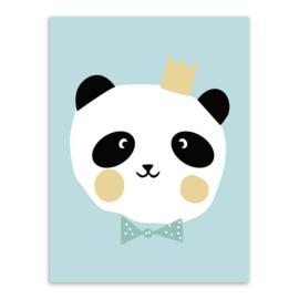 Poster Panda met kroontje 30 x 40 cm