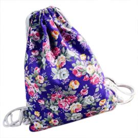 Gymtas rugzakje canvas bloemetjes paars