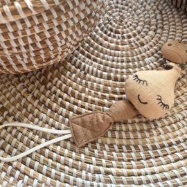 speenkoord houten clip druppel beige en taupe
