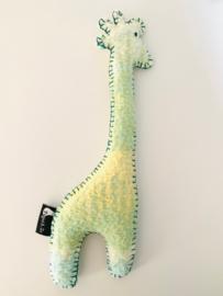 Wollen giraf knuffel geel pastelgroen