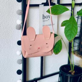 mini tasje konijntje kunstleer roze