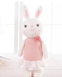 Knuffel konijntje roze jurkje
