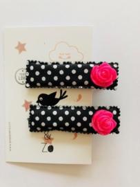 """alligator haarknipjes zwart """"roses"""" fuchsia glitter"""
