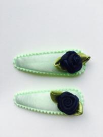 haarknipjes mint roosje blauw