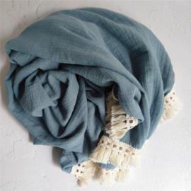 hydrofiel doek swaddle oudblauw met vintage franje band