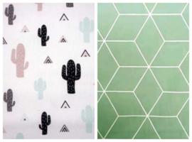 Dekbedovertrek cactus zwart wit grijs blok mint