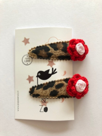 haarknipjes panterprintje rood bloemetje en roosje