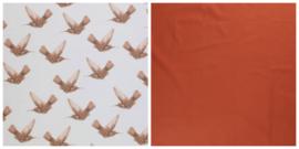 NEW! Dekbedovertrek kolibrie print bruin en terra uni katoen