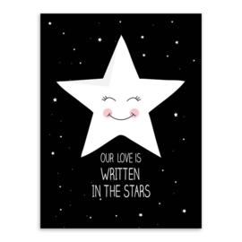 Poster zwart wit star 30 x 40 cm