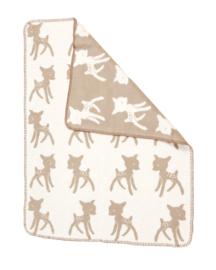 Fabulous Goose ledikant deken - plaid - 120 x 150 cm Bambi hertje beige offwhite